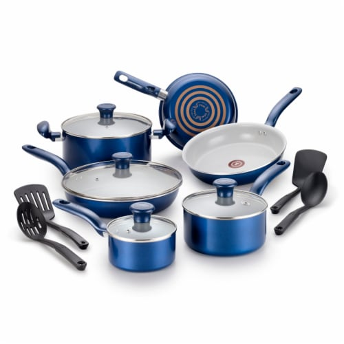 T-fal Ceramic Cookware Set - Blue Perspective: front