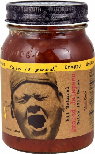 Pain Is Good  Salsa Snappy Medium Batch #218   Smoked Jalapeno Perspective: front