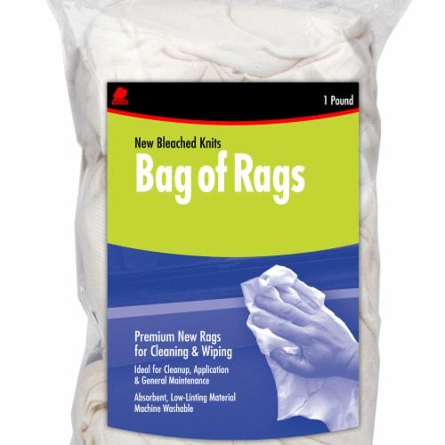 Buffalo™ Bag of Rags Bleached Knit Rags - White Perspective: front