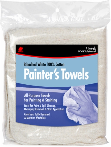 Buffalo™ Bleached Cotton Painter's Towels - 4 Pack - Natural Perspective: front