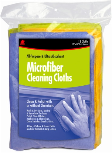 Buffalo Microfiber Cleaning Cloths - 12 Pack - Blue/Green/Yellow Perspective: front