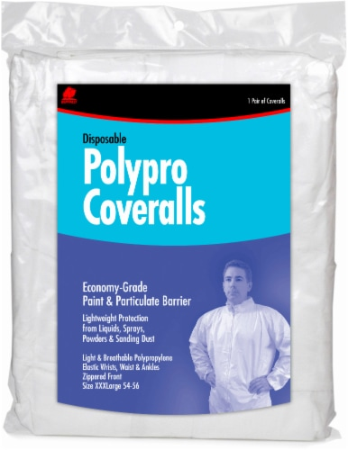 Buffalo Disposable Polypro Coveralls - White Perspective: front