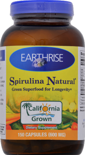 Earthrise Spirulina Natural 600 mg Capsules Perspective: front