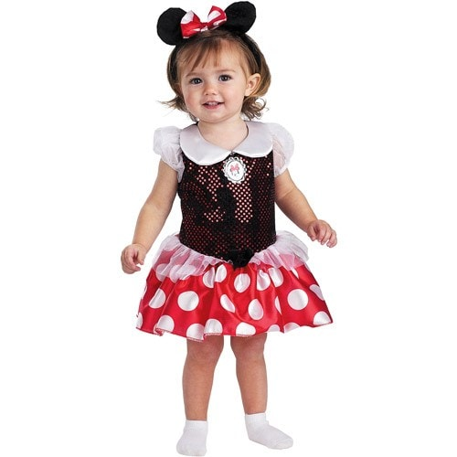 Red Minnie Classic Toddler Costume (12-18 mths) Perspective: front