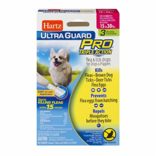 Hartz Ultra Guard Pro Triple Action Flea and Tick Drops for Dogs 15-30 Lbs Perspective: front