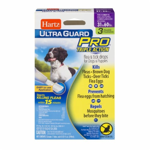 Hartz Ultra Guard Pro Triple Action Flea and Tick Drops for Dogs 31-60 Lbs Perspective: front