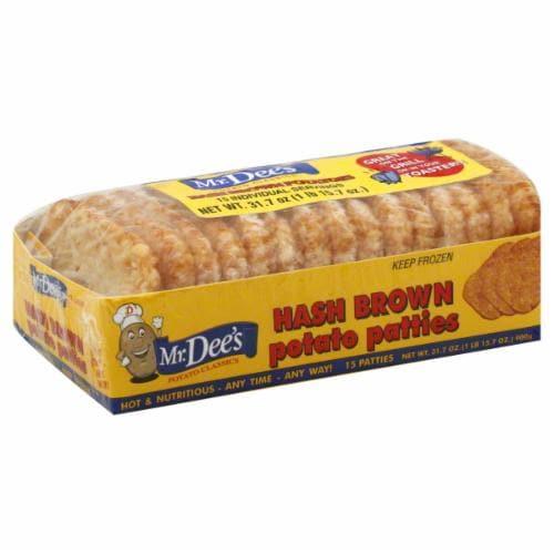 Mr. Dee's Frozen Hash Brown Potato Patties 15ct Perspective: front