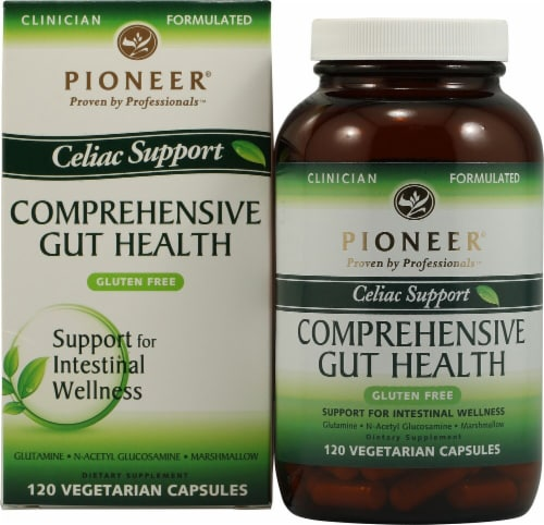 Pioneer Celiac Support Comprehensive Gut Health Vegetarian Capsules Perspective: front