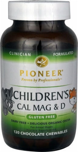 Pioneer Children's Cal Mag & D Chocolate Chewables 120 Count Perspective: front