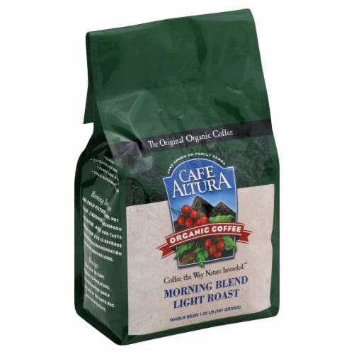 Cafe Altura Organic Morning Blend Light Roast Whole Bean Coffee Perspective: front