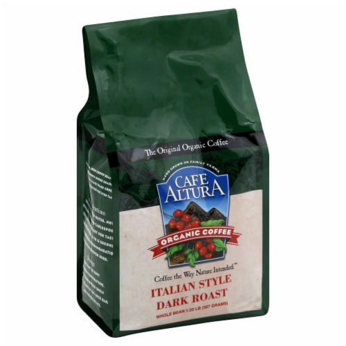 Cafe Altura Organic Italian Style Dark Roast Whole Bean Coffee Perspective: front