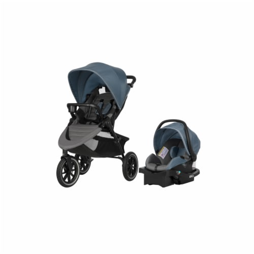 Evenflo Folio 3 Wheeled Stroller and Jogger Travel System - Black/Blue Perspective: front