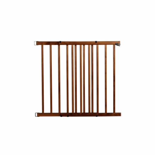 Evenflo Farmhouse Collection Top of Stairs Walk-Thru Gate - Brown Perspective: front
