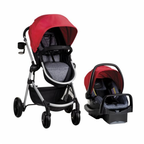 Evenflo Pivot Baby Stroller and Safemax Infant Car Seat Travel System, Red Perspective: front