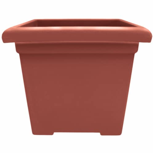 The HC Companies Square Accent Planter - Clay Perspective: front