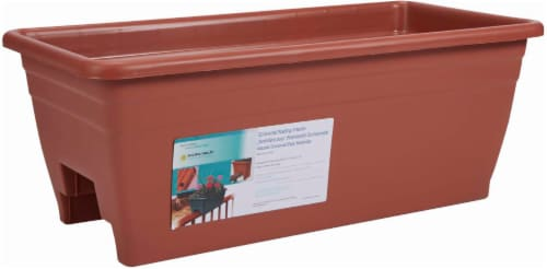 Myers Lawn & Garden Deck Rail Planter Box - Clay Perspective: front