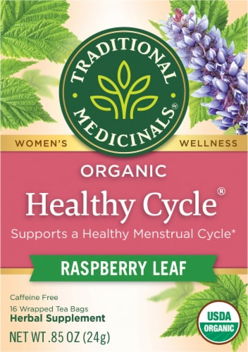 Traditional Medicinals Healthy Cycle Naturally Caffeine Free Herbal Tea Perspective: front