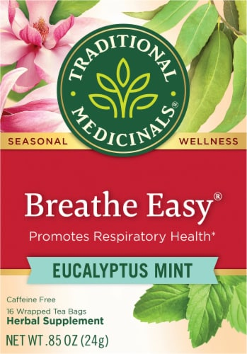 Traditional Medicinals Breathe Easy Eucalyptus Mint Tea Bags 16 Count Perspective: front