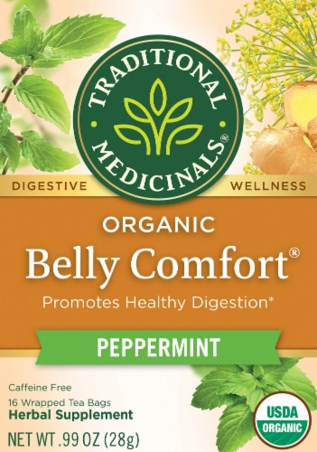 Traditional Medicinals Belly Comfort Peppermint Herbal Tea Bags Perspective: front