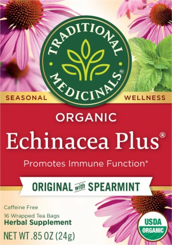 Traditional Medicinals Organic Echinacea Plus Tea Bags Perspective: front