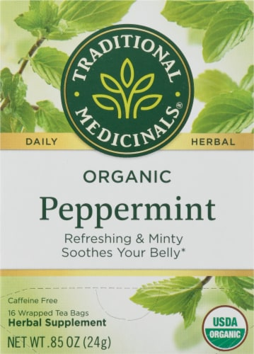 Traditional Medicinals Organic Peppermint Tea Bags Perspective: front