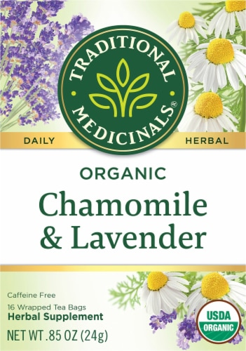 Traditional Medicinals Organic Chamomile with Lavender Tea Bags Perspective: front