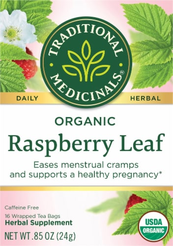 Traditional Medicinals Organic Raspberry Leaf Tea Bags Perspective: front