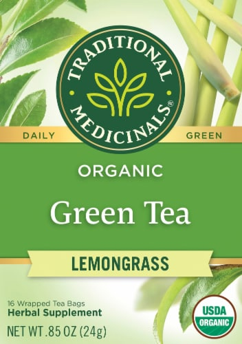 Traditional Medicinals Organic Golden Green Tea Bags Perspective: front