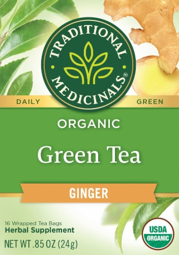 Traditional Medicinals Organic Green Tea with Ginger Perspective: front