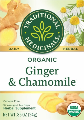 Traditional Medicinal Organic Ginger with Chamomile Tea Bags Perspective: front