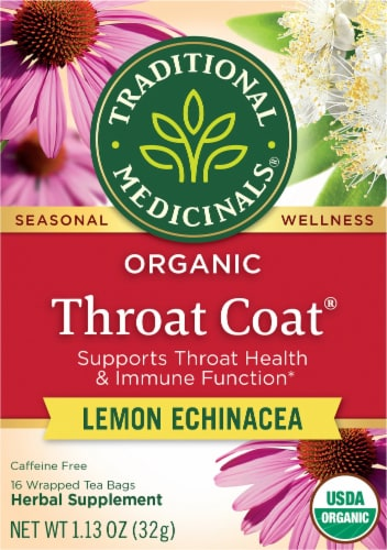 Traditional Medicinals Organic Throat Coat Lemon Echinacea Tea Bags Perspective: front