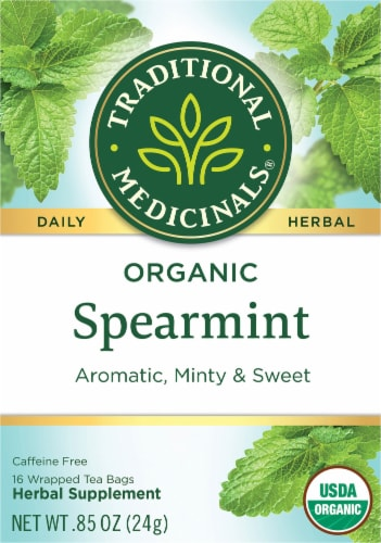 Traditional Medicinals Organic Spearmint Tea Perspective: front