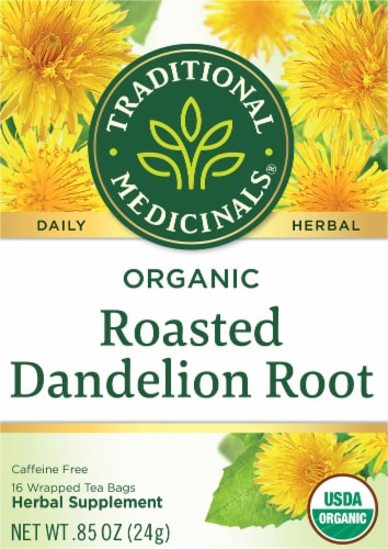 Traditional Medicinals Organic Roasted Dandelion Root Tea Bags Perspective: front