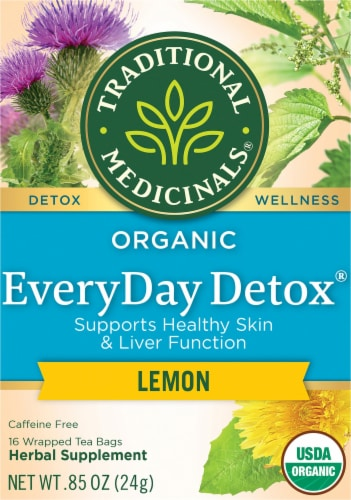 Traditional Medicinals Organic EveryDay Detox Lemon Tea Bags Perspective: front