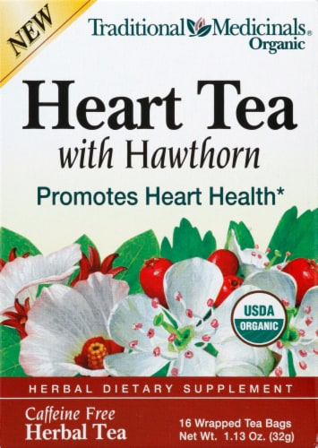 Traditional Medicinals Hawthorn With Hibiscus Herbal Tea Bags 16 Count Perspective: front