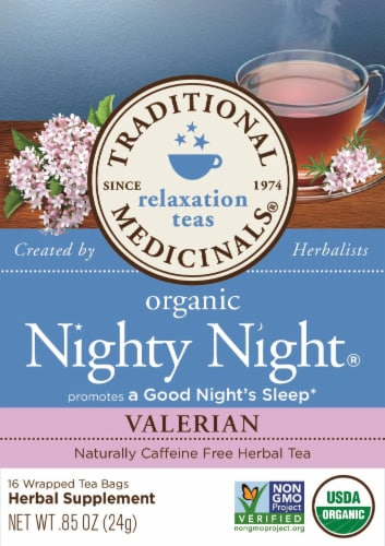 Traditional Medicinals Organic Nighty Night Valerian Tea Bags Perspective: front