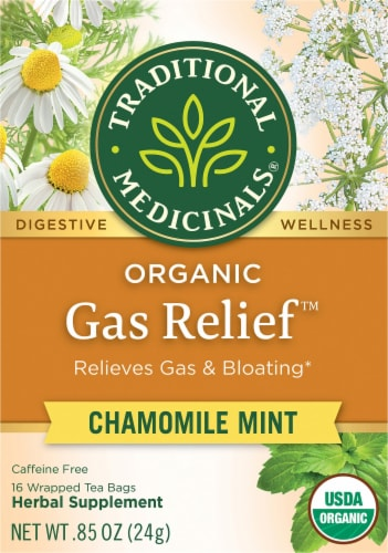 Traditional Medicinals Chamomile Mint Organic Gas Relief Herbal Tea Perspective: front