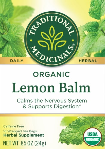 Traditional Medicinals Organic Lemon Balm Herbal Tea Bags 16 Count Perspective: front