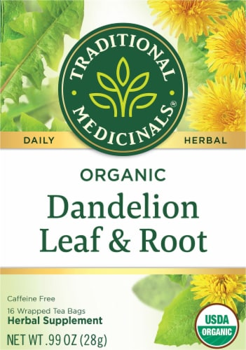 Traditional Medicinals Organic Dandelion Leaf & Root Tea Bags 16 Count Perspective: front