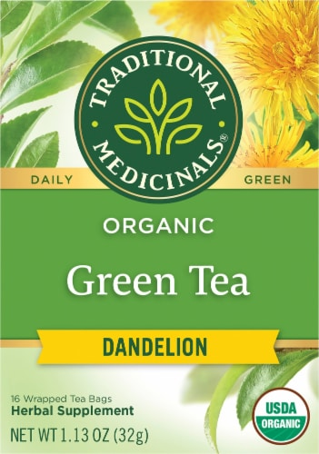 Traditional Medicinals Organic Green Tea Dandelion Perspective: front