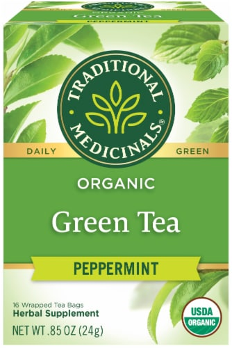 Traditional Medicinals Organic Peppermint Green Tea Bags 16 Count Perspective: front