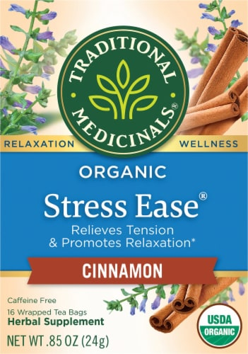 Traditional Medicinals Stress Ease Cinnamon Herbal Tea Perspective: front