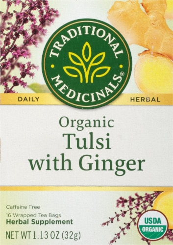 Traditional Medicinal Tulsi With Ginger Tea Bags 16 Count Perspective: front