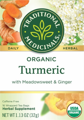 Traditional Medicinals Organic Turmeric with Meadowsweet & Ginger Tea Bags Perspective: front