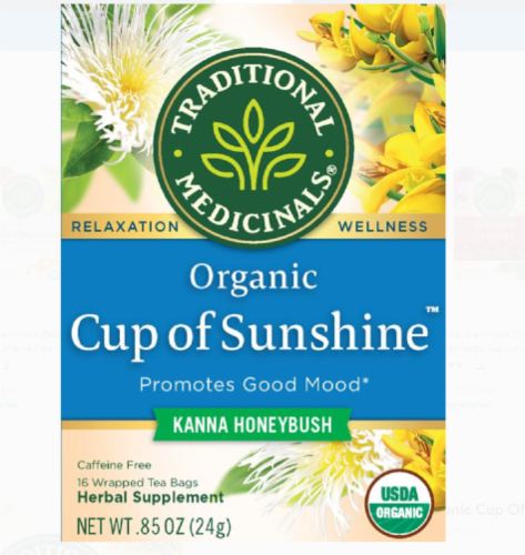 Traditional Medicinals Kanna Honeybush Organic Cup of Sunshine Tea Perspective: front