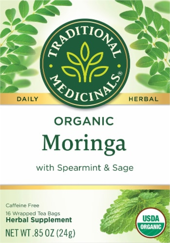 Traditional Medicinals Organic Moringa With Spearmint and Sage Tea Bags 16 Count Perspective: front