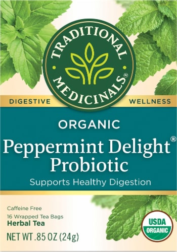 Traditional Medicinals Organic Peppermint Delight Probiotic Herbal Tea Perspective: front
