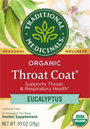 Traditional Medicinals Organic Throat Coat Eucalyptus Wrapped Tea Bags Perspective: front