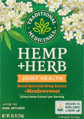Traditional Medicinals Hemp + Meadowsweet Herbel Tea Perspective: front