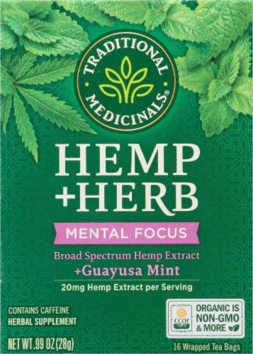 Traditional Medicinals Hemp + Guayusa Mint Herbal Tea Perspective: front